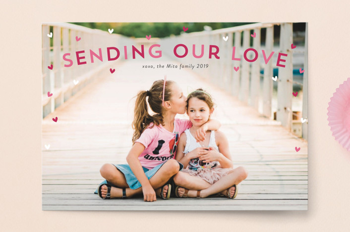 """""""Sprinkle of Hearts"""" - Valentine's Day Postcards in Berry by Sara Showalter."""