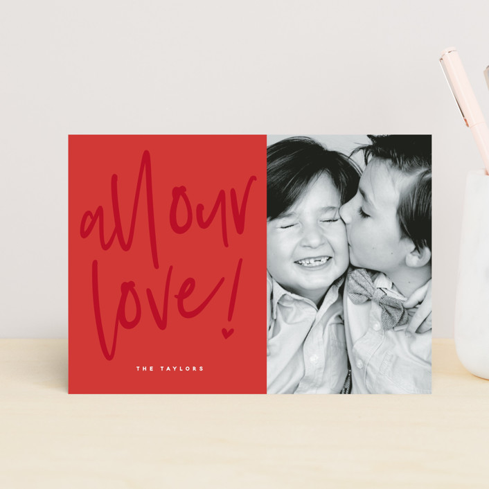 """Lovely love"" - Valentine's Day Postcards in Berry Red by Susan Brown."