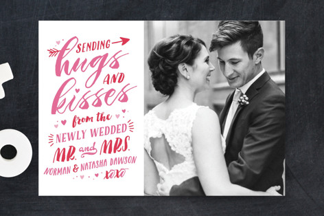 Newlywed Hugs and Kisses Valentine's Day Postcards