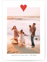 This is a red valentine postcard by Up Up Creative called Modern Heart with standard printing on signature in postcard.