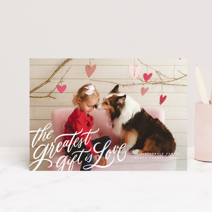 """the greatest gift"" - Valentine's Day Postcards in Cloud by Wildfield Paper Co."