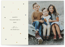 This is a green valentine postcard by Faith Dorn called chic hearts with standard printing on signature in postcard.