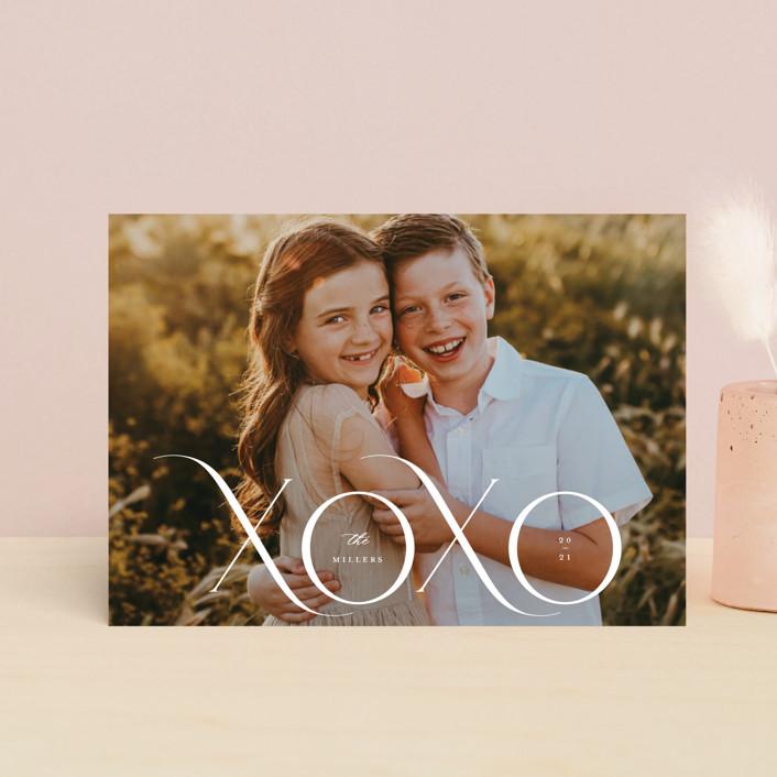 """XOXO MOD"" - Valentine's Day Postcards in Cream by Kristel Torralba."