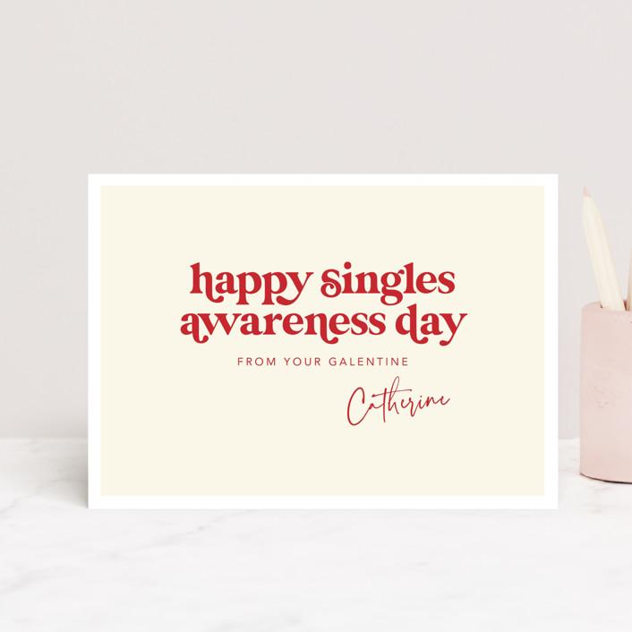 """Happy Singles Awareness"" - Funny Valentine's Day Postcards in Vanilla by Caitlin Considine."