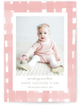 This is a pink valentine postcard by Yaling Hou Suzuki called Soft plaid with standard printing on signature in postcard.
