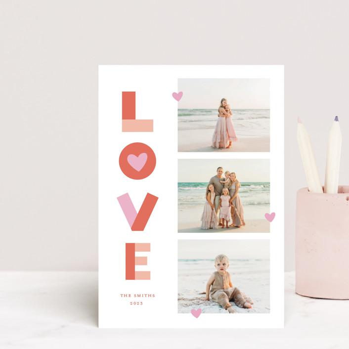 """Bright Happy Love"" - Valentine's Day Postcards in Cherry by Little Print Design."