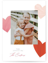 This is a red valentine postcard by Pixel and Hank called Heart Trio with standard printing on signature in postcard.