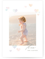 This is a colorful valentine postcard by Creo Study called Bokeh Hearts with standard printing on signature in postcard.