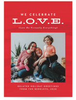 This is a red valentine postcard by Lea Delaveris called Late On Virtually Everything with standard printing on signature in postcard.