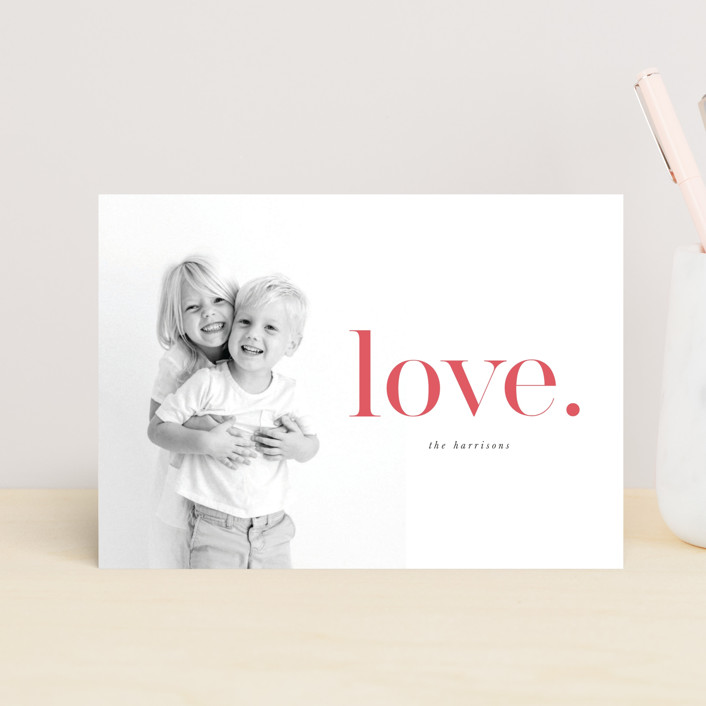 """Just Love"" - Preppy Valentine's Day Postcards in Strawberry by Iveta Angelova."