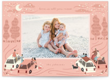 This is a pink valentine postcard by Grae called Romantic Theater with standard printing on signature in postcard.