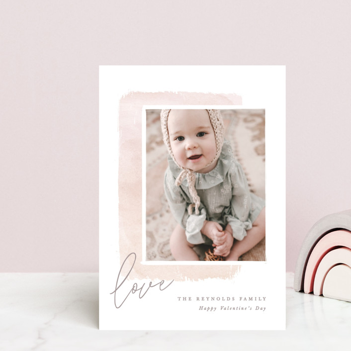 """Modern Watercolor"" - Whimsical & Funny Valentine's Day Postcards in Blush by Hooray Creative."