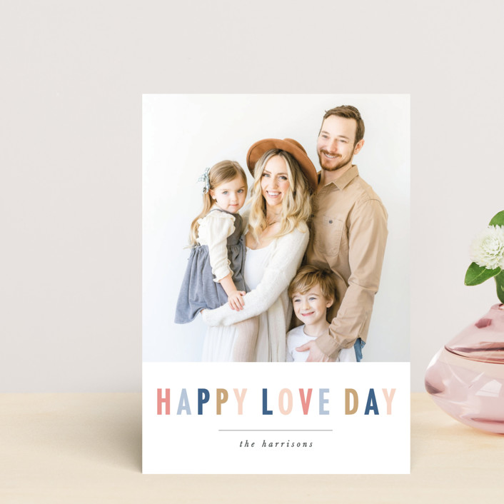 """happy colorful love"" - Valentine's Day Postcards in Steel Blue by Karidy Walker."