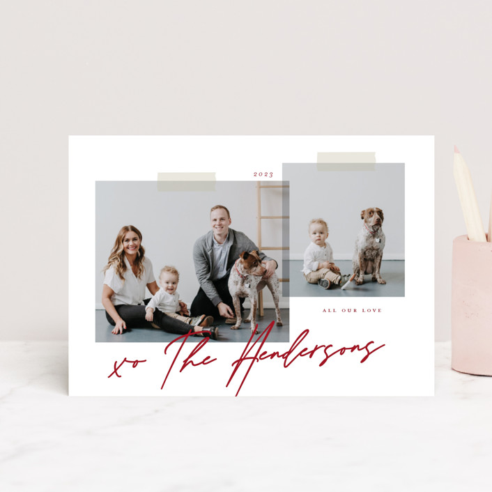 """Snapshots"" - Preppy Valentine's Day Postcards in Berry by That Girl Press."