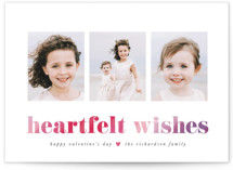 This is a pink valentine postcard by Hooray Creative called Heartfelt with standard printing on signature in postcard.