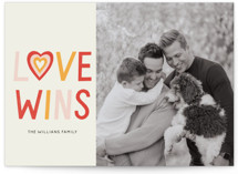 This is a beige valentine postcard by Pati Cascino called Love  Wins No Matter What with standard printing on signature in postcard.