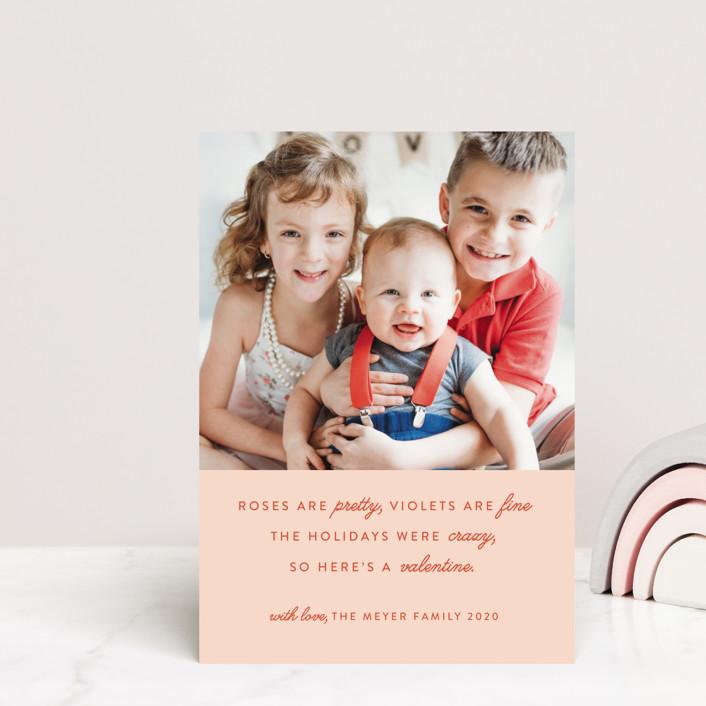 """Valentine Rhyme"" - Funny Valentine's Day Postcards in Blush by Genna Cowsert."