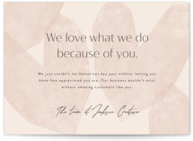 This is a pink valentine postcard by Corinne Malesic called Love What We Do with standard printing on signature in postcard.