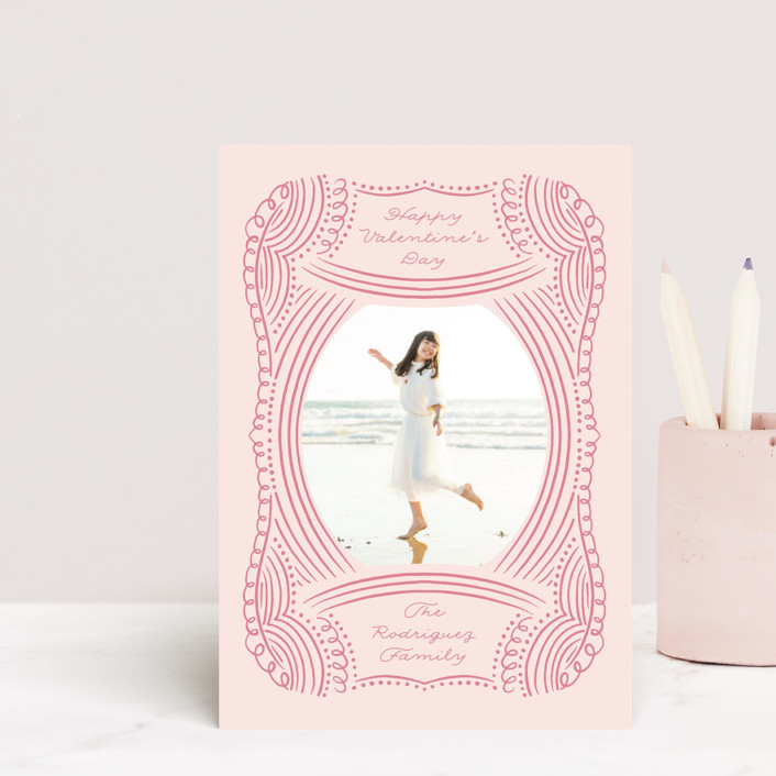 """Doodled Lines"" - Whimsical & Funny Valentine's Day Postcards in Strawberry by Nicole Barreto."