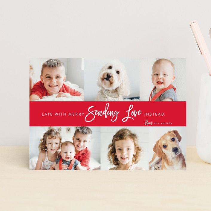 """joy love"" - Funny, Preppy Valentine's Day Postcards in Tomato by Heidi Lee Miller."