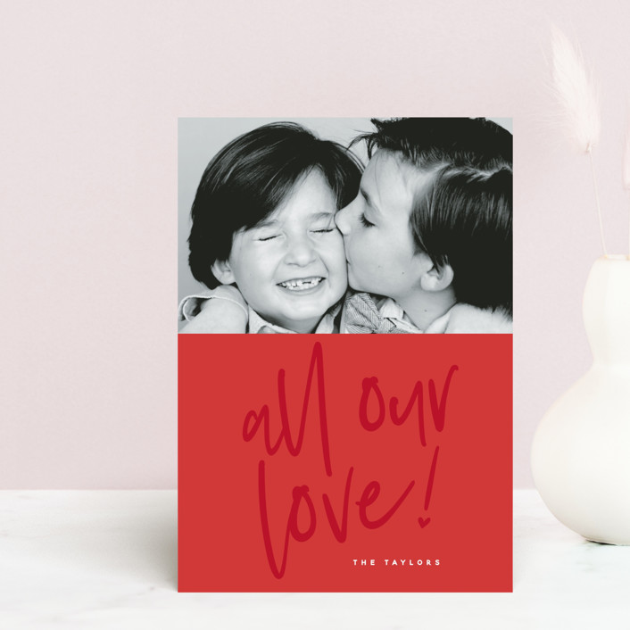 """""""Lovely love"""" - Valentine's Day Postcards in Berry Red by Susan Brown."""