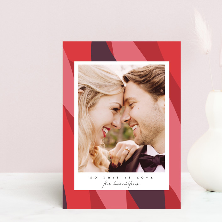 """Folium"" - Modern Valentine's Day Postcards in Strawberry by Christie Garcia."