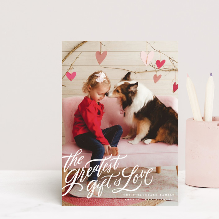 """""""the greatest gift"""" - Valentine's Day Postcards in Cloud by Wildfield Paper Co."""