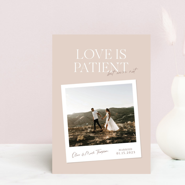 """""""Patient"""" - Funny Valentine's Day Postcards in Dusty Rose by Owl and Toad."""