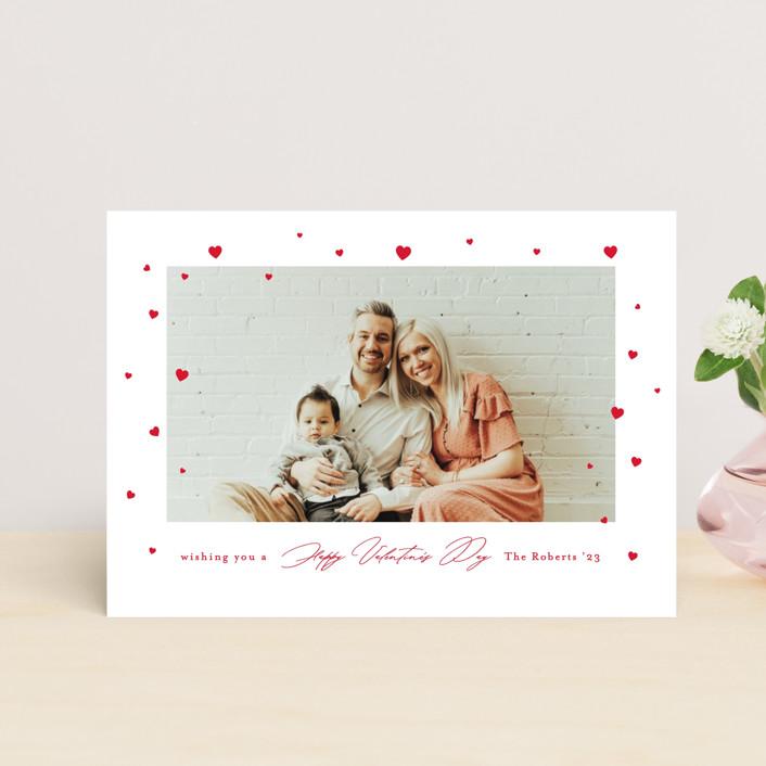"""Fluttering Hearts"" - Preppy Valentine's Day Postcards in Snow by Mansi Verma."