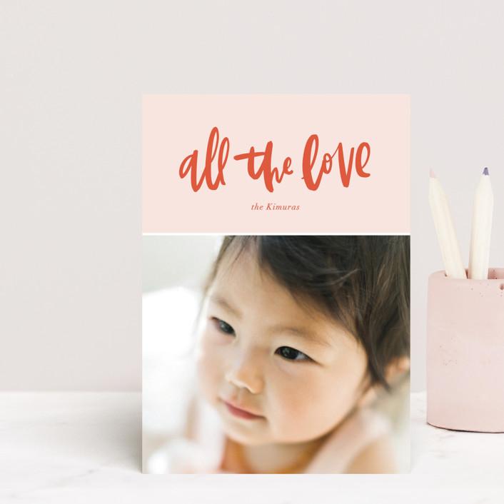 """""""All the Love"""" - Preppy Valentine's Day Postcards in Blush by Alicia Schultz."""