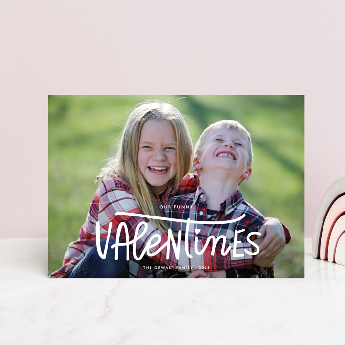 """""""Our Funny Valentine"""" - Funny Valentine's Day Postcards in Crimson by Bethany Anderson."""