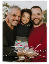 This is a white valentine postcard by Hooray Creative called This Love of Ours with standard printing on signature in postcard.