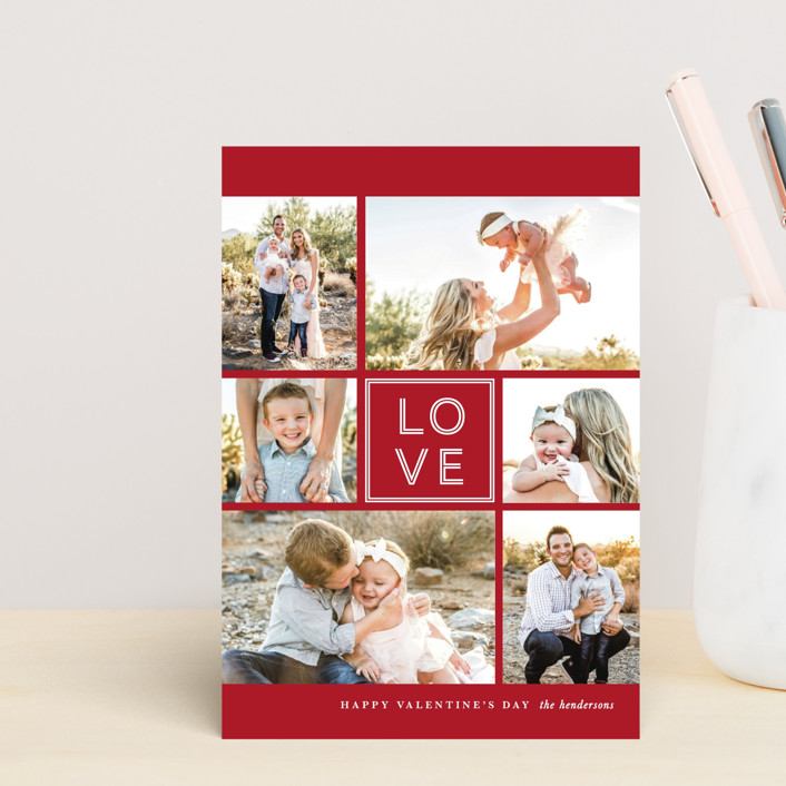 """JOY-FUL"" - Valentine's Day Postcards in Holly by Lauren Chism."