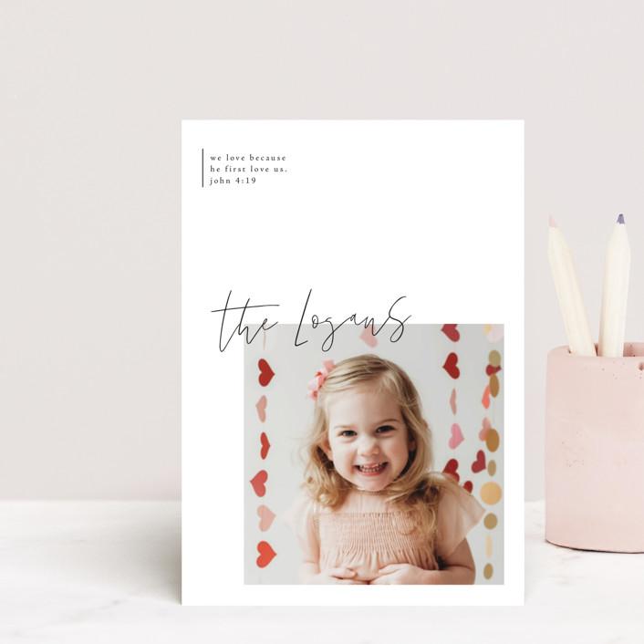 """modern sentimental"" - Preppy Valentine's Day Postcards in Engine Red by Design Lotus."