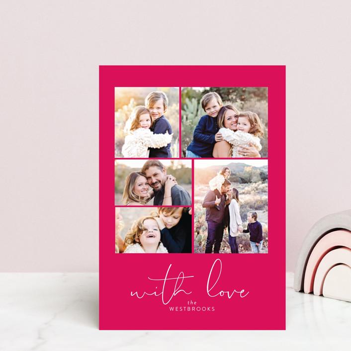 """High Five"" - Valentine's Day Postcards in Magenta by Erin Deegan."