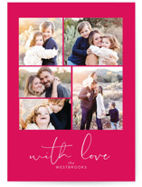 This is a pink valentine postcard by Erin Deegan called High Five with standard printing on signature in postcard.