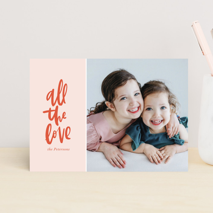 """All the Love"" - Preppy Valentine's Day Postcards in Blush by Vine and Thistle."