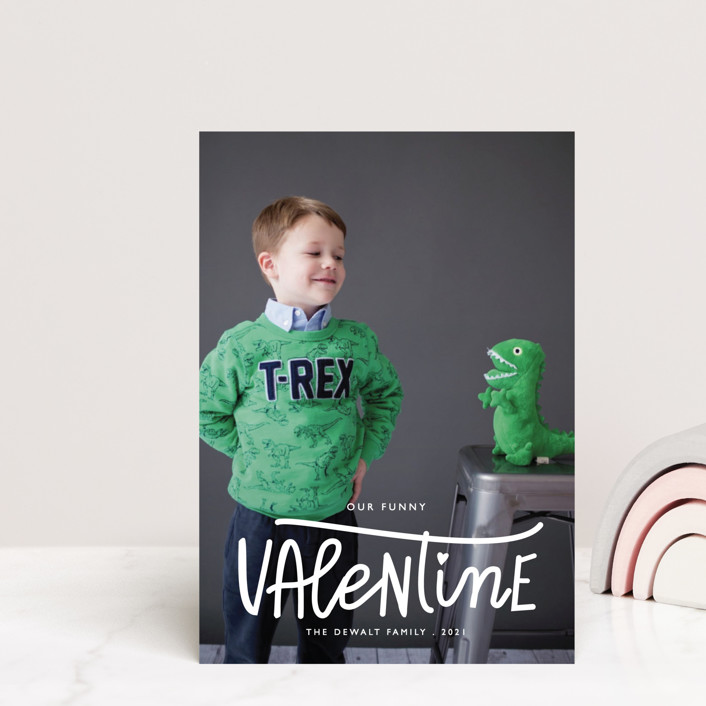 """Our Funny Valentine"" - Funny Valentine's Day Postcards in Crimson by Bethany Anderson."