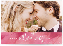 This is a pink valentine postcard by Keen Peachy called Abstract Art Valentine with standard printing on signature in postcard.