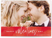 This is a red valentine postcard by Keen Peachy called Abstract Art Valentine with standard printing on signature in postcard.