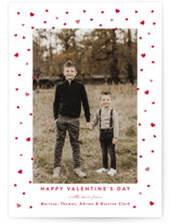 This is a red valentine postcard by Jennifer Lew called Hearts Framed with standard printing on signature in postcard.