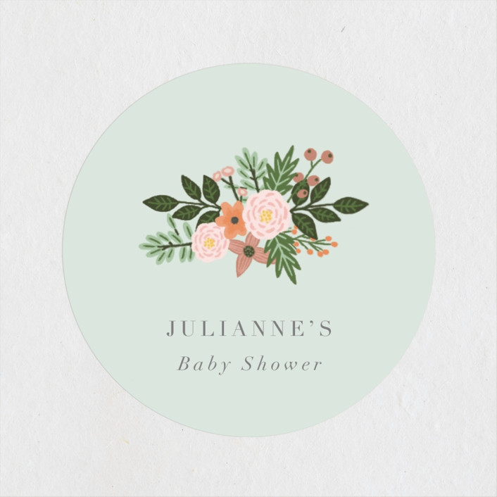 """""""Love and Flowers"""" - Whimsical & Funny Baby Shower Stickers in Mint by Juliana Zimmermann."""
