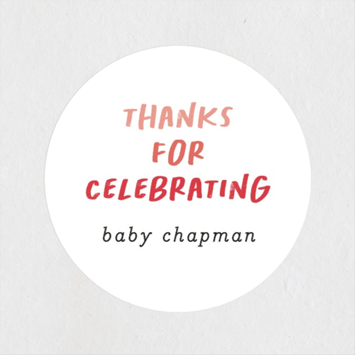 """""""Baby Basics"""" - Funny Baby Shower Stickers in Coral by Erica Krystek."""