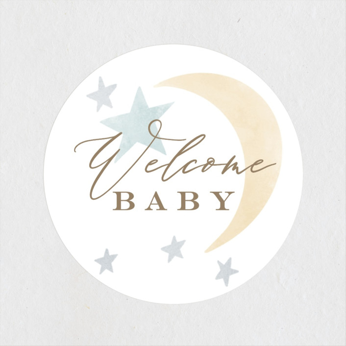 """Celestial Frame"" - Whimsical & Funny Baby Shower Stickers in Lemon by Everett Paper Goods."