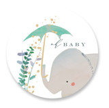 This is a green baby shower favor label by Lori Wemple called Elephant Shower with standard printing on uncoated sticker paper in sticker.