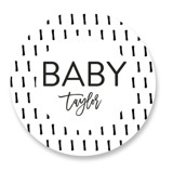 This is a black and white baby shower favor label by Christine Taylor called Oh Baby! with standard printing on uncoated sticker paper in sticker.