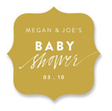 This is a gold baby shower favor label by Cass Loh called Finger paint with standard printing on uncoated sticker paper in sticker.