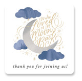 This is a blue baby shower favor label by Alethea and Ruth called Moon and Back Cloudy Sky with standard printing on uncoated sticker paper in sticker.