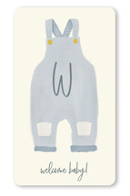 This is a blue baby shower favor label by Julie Murray called Blue Jean Baby with standard printing on uncoated sticker paper in sticker.