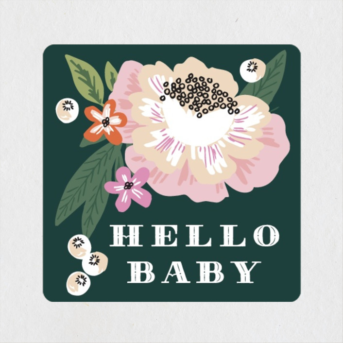 """""""Floral Banner"""" - Baby Shower Stickers in Petal by Alethea and Ruth."""